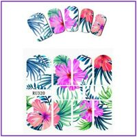 Nail Art Water Decals Stickers Transfers Summer White Tropical Palm Trees RU320