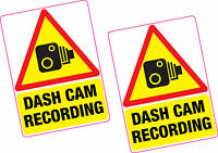 2 x Dash Cam Recording Vinyl Sticker 100x70mm Car Van Taxi Vehicle