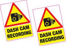 2 x Dash Cam Recording Vinyl Sticker 100x70mm Car Van Taxi Vehicle