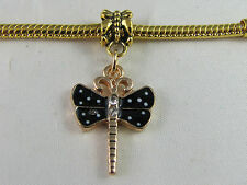 GOLD PLATED BLACK DRAGONFLY DANGLE CHARM EURO STYLE CHARM BRACELETS  (DC 055)