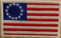 Betsy Ross Flag Patch W/ VELCRO® Brand Fastener White Stars US White Border