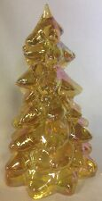 "Christmas Holiday Tree - Honey Carnival Glass - Mosser USA - Large 8"""