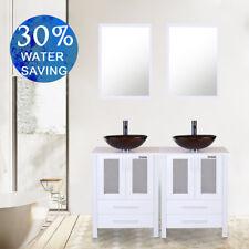 "48"" Bathroom Vanity Modern White Double Vessel Glass Sink Cabinet W/ Mirror Set"