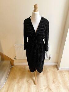 Zara Black Velvet Silver Polka Dot Wrap Dress Size Medium Party Christmas