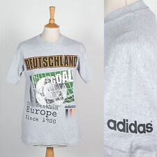 VINTAGE anni'90 Adidas Football T-shirt girocollo Tedesco Calcio DEUTSCHLAND SPORT Wavey S