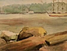 """Listed AMERICAN CHARLOTTE LIVINGSTON Sd ORIG W/C WATERSCAPE """"The Schooner"""" N/R"""