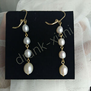 Magnificent Natural AAAA Akoya White Drop/dangle Pearl Earrings 14k Gold P