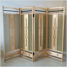 Japanese Wood Carving Folding Screen (Byoubu) 4 panels made from Bamboo bark.