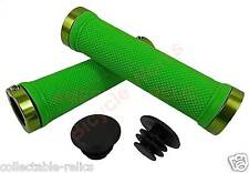 Lime Green Lock On BMX MTB Grips Bike Bicycle Mountain Scooter Cycle LockOn NEW