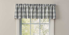 "Park Designs WICKLOW DOVE GRAY Winter White Check Unlined Window Valance 72""x14"""