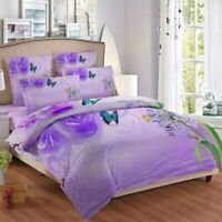 Purple Flower 3D Quilt Duvet Doona Cover Set Single Double Queen King Print