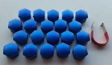 17mm MID BLUE Wheel Nut Covers with removal tool fits FIAT