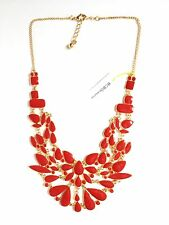 NEW BCBGeneration BCBG RED BIB COLLAR NECKLACE GOLD COLOR WOMENS JEWELRY