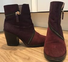 Diane Von Furstenberg DVF Ankle Boots UK4 Pony Hair Suede Mulberry Oxblood
