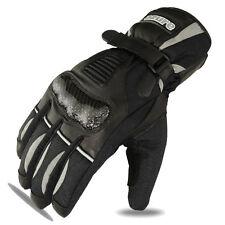 Moto Guantes de invierno de cuero de vaca Carreras de motocicleta impermeable negro/gry, L