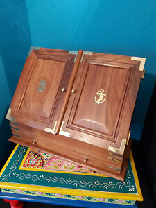 A BRASS BOUND SOLID WOOD TABLE TOP STATIONARY BOX/CABINET- NAUTICAL THEME