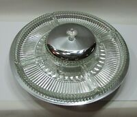 Kromex Table Center Turning Lazy Susan Tray Chrome and Glass 7 pc Set FREE S/H
