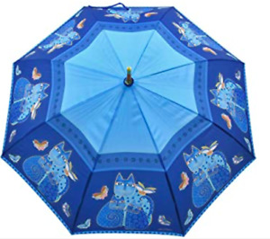 LAUREL BURCH Compact Umbrella Indigo Cats Auto Open & Close nwt