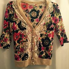 Just Ginger Womens Sweater Tan Flowers Lace Size Medium 3/4 Sleeve
