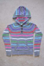P.S. Aeropostale Girl's Grey Stripes Cable Pullover Hoodie Sweater - Size L(12)