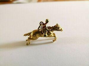Vintage 9ct Yellow Gold Georg Jensen Jockey and Horse Charm - 5.3g