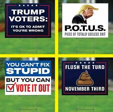 4-Pack Anti-Trump Funny 2020 Yard Signs Double Sided 24x18 w/Stakes Biden Harris