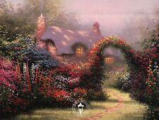 Glory of Morning - Flower Gate, House, Path - Thomas Kinkade Dealer Postcard