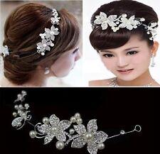 Tiara Diadem Blumen Perlen Blätter Haarschmuck Kopfschmuck Braut Strass Hochzeit