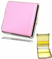 CIGARETTE CASE, Pink Faux Leather.. smoker smoking ladies tin Box or Roll Ups