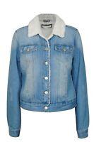 Women's Juniors Fashionable Button Front Sherpa Lined Denim Jacket