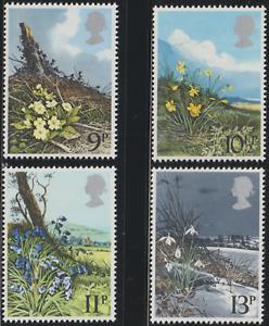 GB 1979 SPRING WILD FLOWERS SET 4V FRESH MNH.