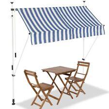 Tenda Sole Balcone Estensibile Parasole Avvolgibile Esterno con Gambe 200cm Blu