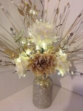 Artificial Silk Flower Arrangement Cream Flowers in Glitter Vase Lights Up