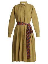 RHODE RESORT Laura Point-Collar Cotton Shirt dress Size L Color Olive S1B1