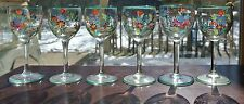 Set of 6 Beautiful Hand Painted 1-1/2 oz  Cordial Glasses