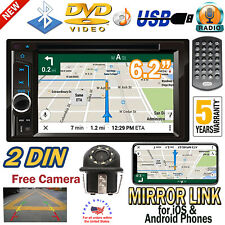 2 Din Touch Screen Car DVD CD Player Bluetooth Stereo Radio USB Phone+ Camera