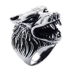 Schmuck Biker Herren-Ring, Edelstahl, Gotik Wolf Kopf, Schwarz+Silber, 12 G V1N4