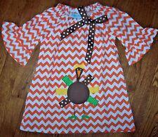 NEW Funtasia Too Orange CHEVRON Dress Applique TURKEY 4/4T Girl Thanksgiving CWD