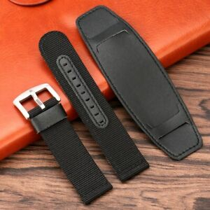 20/22/24MM Black/Brown/Green Leather+Nylon Watch Band Replacement Sport Strap