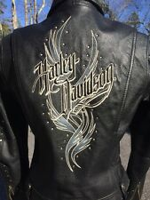Harley Davidson Black Leather Studded Jacket Women's Small Embroidered