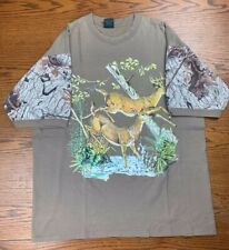 Vintage Deer Camouflage Hunting Graphic Shirt Sz XL All Over Print Sleeves Camo
