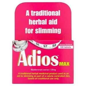 Adios Max Maximum Strength Herbal Slimming Weight Loss - 100 Tablets X 2