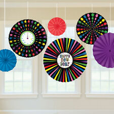 6 x New Year Large Multi Colour Hanging Paper Fans Party Decorations