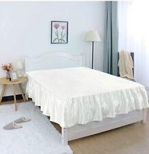 """Queen Butter Cream Bed Skirt 300 Ct Silk 16"""" Drop Ruffled"""
