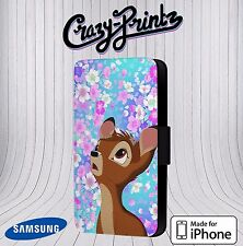 Bambi Beautiful Floral Cute Phone Cover Leather Flip Case D117