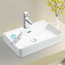 Bathroom ceramic Rectangular above counter top Basin Vanity w/ overflow white