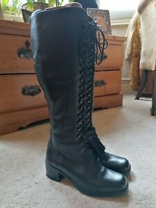 Next Black Leather Lace Up Victorian Style Boots Size 37 / 4