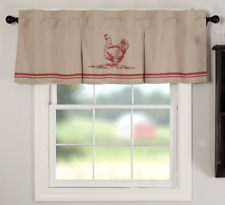 SAWYER MILL RED CHICKEN Valance Window Curtain Khaki Farmhouse VHC Brands 20x60