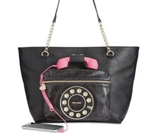 $128 Betsey Johnson black phone extra large tote
