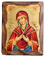 Our Lady of Sorrows Handmade Gold Leaf Canvas Natural Wood Icon